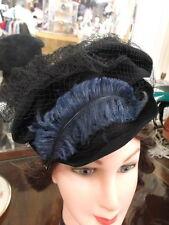 1930-46 Helen Hale Orig Black Felt High Crown Tipper w/Blue Feather&Net 22 1/2