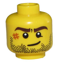 LEGO NEW MINIFGURE HEAD WITH SCAR OR BRUISE ON FACE AND BEARD STUBBLE