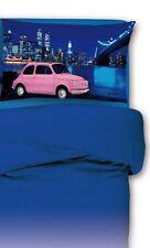 PARURE HOUSSE DE COUETTE 1 lit simple 500 cars ROSE bleu 100% coton VINTAGE
