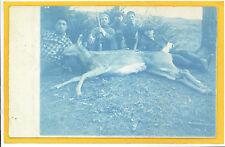 Cyanotype Real Photo Postcard RPPC Hunter Hunting Deer