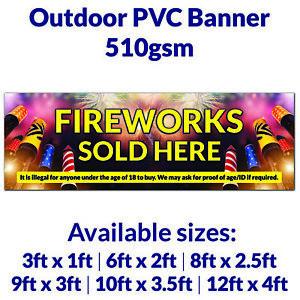 Fireworks Sold Here Business Display Sign Bonfire Outdoor PVC Banner Park Event