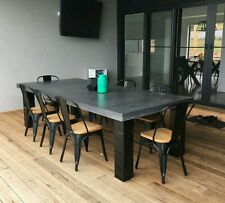 Polished concrete dining table indoor, outdoor patio, charcoal industrial look