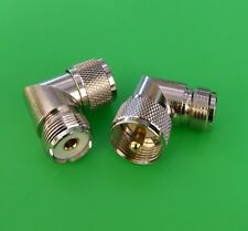 (2 PCS) Right Angle UHF Male PL259 to UHF Female SO239 Connector - USA Seller