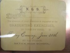 NATICK HIGH SCHOOL - CLASS OF 1882 - GRADUATING EXERCISES INVITAITION EXCELLENT