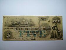 Antique 1853 American 5 Dollar Banknote Boston Massachusetts The Cochituate Bank