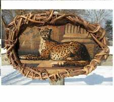 "Embroidered Medieval Cheetah Tapestry Framed Large 35 Year Grape Vines 21"" Ooak"