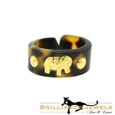 Magnificent 18k Yellow Gold Elephant on Tiger Eye Flexible Band Ring