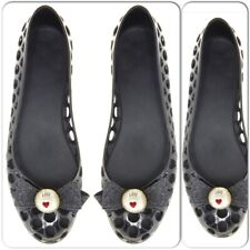Love Moschino Jelly Flat Shoes Glitter Pearl Bow Size 40