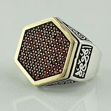 Solid 925 Sterling Silver Garnet Gemstone Man Ring HandMade AAA Quality Ottoman