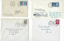 Four France Covers, Various Octagonal Ships