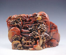 5.75 Inches Heavy Stone Carved Sculpture Mountain Scenery Tree Figurine Chatting