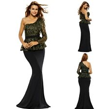 Sz 12 14 One Shoulder Peplum Black Lace Formal Cocktail Party Evening Long Dress