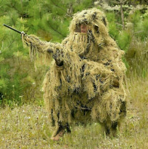 Desert Tactical Camouflage Ghillie Suit Sniper Clothes Jacket Pants Weapon Cover