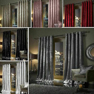 Crushed Velvet Blackout Curtains Eyelet Ring Top Ready Made Lined Pair Curtains