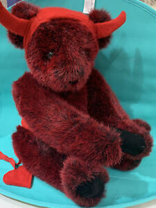 "Rare VermontTeddy Bear Plush Poseable DEVIL Red fur Bear 16"" EUC"