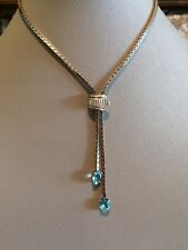 Vintage Sterling silver lariat with blue stones adjustable Very retro 40's