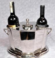 Nickel Plate Wine Cooler Bucket ~ Ice Bucket Holds 2 Bottles