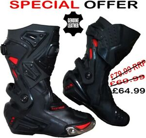 Mens Red & Black CE Motorbike Motorcycle Racing Leather Shoes Long Sports Boots