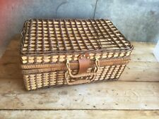 Wicker Rattan Brown Picnic Basket Gingham White Plastic Plates Cups Cutlery