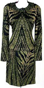 ST.JOHN Womens Knit 2Pc. Suit Black Green Embellished NWT Jacket & Dress Sz 2