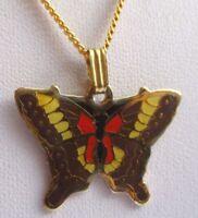 Beau pendentif chaîne bijou vintage couleur or émail cloisonné papillon 711