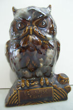 "Owl Ceramic saving Piggy bank 6"" Tall 4"" Across The Bottom"