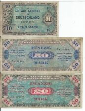 Group of 3 1944 Mpc Military Payment Certificate German 10 20 & 50 Marks Notes