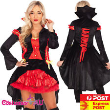 Ladies Vampire Devil Princess Countess Halloween Fancy Dress Costume Party Dress