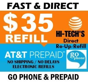 $35 AT&T GO PHONE FAST PREPAID REFILL DIRECT to PHONE 🔥GET IT TODAY!🔥 TRUSTED