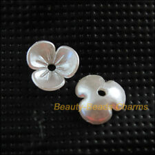 100 New Charms Acrylic Plastic Flower Heart Spacer End Bead Caps White 9.5mm