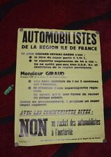 Affiche militante Elus communistes d'Ile de France Giscard / Racket automolistes