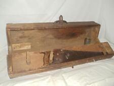 "Vintage Antique Primitive Carpenter Wood Wooden 32"" Long Tool Box Tote Chest"
