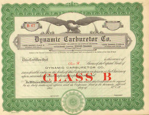 Dynamic Carburetor Company > Class B shares Unissued stock certificate