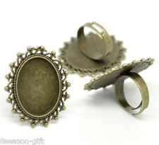 50 Bronze Tone Adjustable Oval Cabochon Ring Settings 17.5mm US 7(Fit 25x18mm)