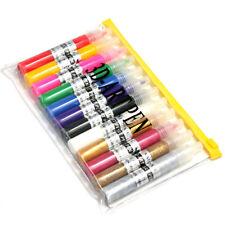 12 Mix Colors UV Gel Acrylic Nail Art Polish Glitter 3D Paint Drawing Pen Set