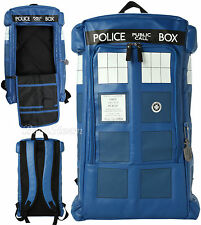 """NEW BBC DR WHO LARGE 3-D FIGURAL TARDIS Call Box School BACKPACK 20"""" x 14"""" X 5"""""""
