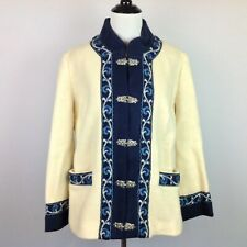 Fjord Fashion Wool Coat Womens Medium Embroidered Hook Clasps Norway