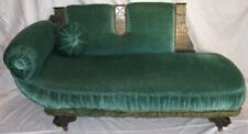 Green Chaise Lounge Fainting Couch Sofa Childs Doll Furniture Green Antique (O2)