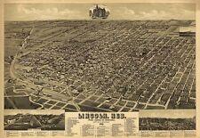 Map Aerial Birds Eye Lincoln Nebraska 1889 Large Wall Art Print Poster Lf2504