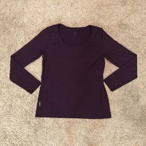 Icebreaker Women's Size Large Purple Merino Long Sleeve Baselayer Shirt