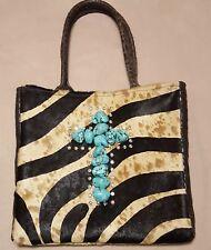 KurtMen Design Original Turquoise Cross Animal Zebra Beige Black Cowhide Handbag