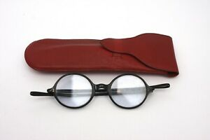 Vintage round framed spectacles glasses Bakelite slightly tinted lenses 1930s