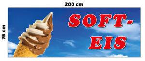 Banner Soft Eis Ice Spannband 200 x 75 cm Werbung Cafe Kiosk Burger Imbiss -2