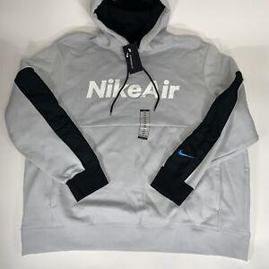 Nike Air Pullover Logo Fleece Hoodie Grey Fog/Black/White Men's Sz 3XL CU4139
