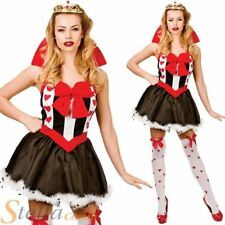 Ladies Queen Of Hearts Costume Fairytale Halloween Fancy Dress Womens Outfit