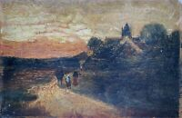 Oil Painting Landscape With People on The Away to The Village Evening Mood 1909