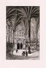 1800s RAILTON Original Etching Chapter House, Wells Cathedral FRAMED SIGNED COA
