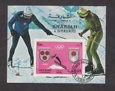 Sharjah - Sapporo Olympics Skiing 1972.  Souvenir Sheet. Cancelled   #02 SHAHSK