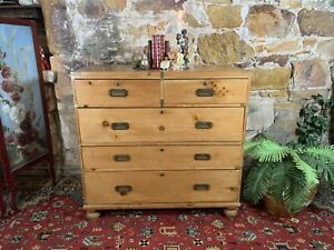 RARE Antique Campaign Style Chest of 5 Drawers c.1900~Pine~Breaks Into 2 Parts