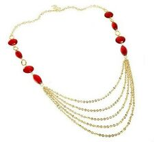 Designer Gold Pld Multi-Strand Chains Lampwork Glass Gypsy Belt Flapper Necklace
